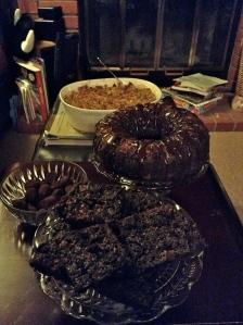 Gluten-free chocolate rum cake with ganache, gluten-free brownies, mocha truffles